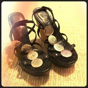 White House black market strappy high heels cork 6
